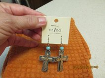 Silver & Gold Cross Earrings - w/Turquoise Embellishment - NWT - Gift Boxed in Houston, Texas