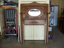 Antique Solid Oak Fireplace Mantle w/Mirror in Cherry Point, North Carolina