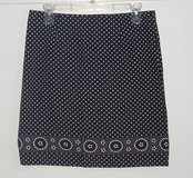 so black white polka dot floral trim skirt womens sz 7 juniors jrs in Morris, Illinois