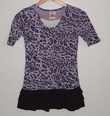 Knit Works Purple Leopard Ruffle Tier Shirt Dress In Girls Size Large 10 in Yorkville, Illinois